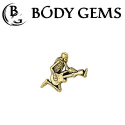 Body Gems 14kt Gold Skeleguitar Threaded End Dermal Top 18 Gauge 16 Gauge 14 Gauge 12 Gauge 18g 16g 14g 12g