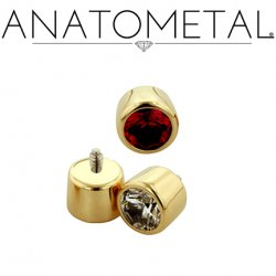 Anatometal 18kt Gold Threaded 3mm Bezel-set Faceted Gem End 18g 16g 14g 12g