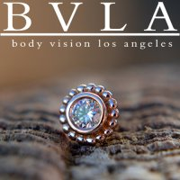 "BVLA 14kt Gold Beaded ""Choctaw"" 5mm Threaded End Dermal Top 18g 16g 14g 12g Body Vision Los Angeles"