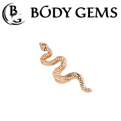 Body Gems 14kt Gold Snake Threaded End Dermal Top 18 Gauge 16 Gauge 14 Gauge 12 Gauge 18g 16g 14g 12g