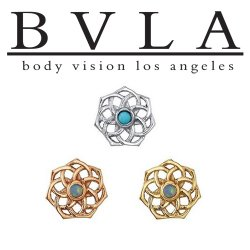 "BVLA 14Kt Gold ""Shandra"" 6mm Threaded End Dermal Top 18g 16g 14g 12g Body Vision Los Angeles"