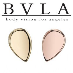 "BVLA 14Kt Gold ""Flat Tear Drop"" Threaded End Dermal Top 18g 16g 14g 12g Body Vision Los Angeles"