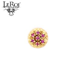 "LeRoi 14kt Gold 7 Stone Scalloped Threadless End 18 Gauge 18g ""Press-fit"""