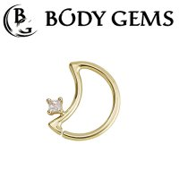 Body Gems 14kt Gold LunEar Daith Ring with 2mm Princess Gem 16 Gauge 14 Gauge 16g 14g