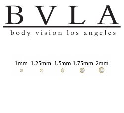 BVLA 14kt Gold Threadless Push Pin Cubic Zirconia 1mm 1.25mm 1.5mm 1.75mm 2mm Bezel Gem End 18g 16g 14g Body Vision Los Angeles