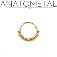 Anatometal Vaughn 18kt gold Seam Ring With Gold Bead Overlay 18 Gauge 18g
