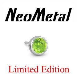 "18 Gauge 18g NeoMetal Limited Ed. Threadless Titanium Faceted Peridot Bezel 3mm ""Press-fit"""