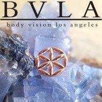 "BVLA 14Kt Gold ""Flower of Life\"" Threaded End Dermal Top 18g 16g 14g 12g Body Vision Los Angeles"
