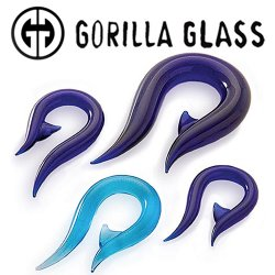 "Gorilla Glass Hook 4 Gauge to 1"" Glass Ear Weight (Pair)"