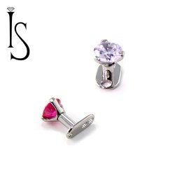 IS Titanium Surface Micro Dermal Anchor Post with 3 Prong Gem 16 Gauge 14 Gauge 16g 14g