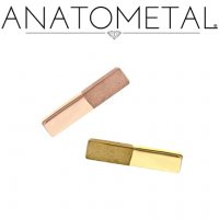 Anatometal 18Kt Gold Rectangle Half Sandblasted Finish Threaded End 18g 16g 14g 12g