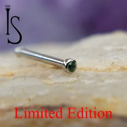 "Industrial Strength Stainless Surgical Steel Nose Bone 1mm Bezel-set Green Alpinite 5/16"" 20 Gauge 20g Limited Edition"