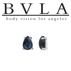 BVLA 14kt Gold Prong-set Pear Cabochon Gem Threaded End Dermal Top 18g 16g 14g 12g Body Vision Los Angeles