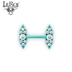 Le Roi Titanium Side-set Barbell 7-Gem Cluster 14 Bead Accents 14 Gauge 12 Gauge 14g 12g