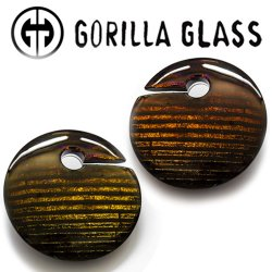 "Gorilla Glass Iridescent Eclipses 4.2oz Ear Weights 7/8"" And Up (Pair)"
