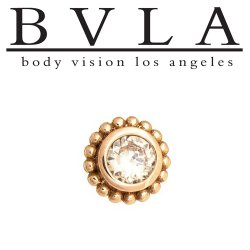 "BVLA 14kt Gold ""Beaded Choctaw"" 5mm Threaded End Dermal Top 2mm Diamond 18g 16g 14g 12g Body Vision Los Angeles"