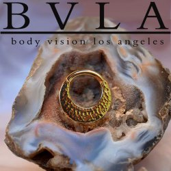 "BVLA 14kt Gold ""Quarencia"" Septum Clicker Hinged Ring 14 Gauge 14g Body Vision Los Angeles"