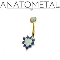 Anatometal 18kt Gold Heart Gem Cluster Navel J-Curve Belly Button Ring 14 Gauge 14g