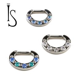 Industrial Strength Titanium 5 Faceted Gem Septum Clicker 12G 12 gauge