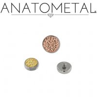 Anatometal Titanium Bezel with Hammered Gold Insert Threaded End Dermal Top 18 Gauge 16 Gauge 14 Gauge 12 Gauge 18g 16g 14g 12g