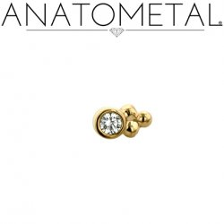 Anatometal 18kt Gold 1 Cluster Sabrina End 2mm gem 18g 16g 14g 12g