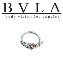 BVLA 14kt Gold Flying Heart Septum Seam Ring 18 Gauge 18g Body Vision Los Angeles