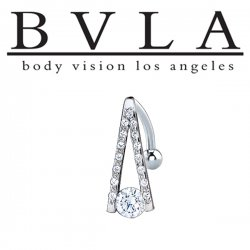 "BVLA 14kt Gold ""A-Line"" Genuine Diamond Studded Navel Curved Barbell 14 Gauge 14g Body Vision Los Angeles"