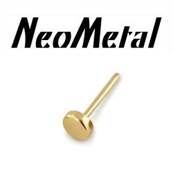 "14 Gauge 14g NeoMetal Threadless 2mm Disk End 14kt 14 Karat Gold ""Press-fit"""