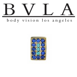 "BVLA 14Kt Gold ""Step Up Rectangle"" Threaded End Dermal Top 18g 16g 14g 12g Body Vision Los Angeles"