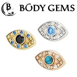 "Body Gems 14kt Gold ""Evil Eye"" Threaded End Dermal Top 18 Gauge 16 Gauge 14 Gauge 12 Gauge 18g 16g 14g 12g"