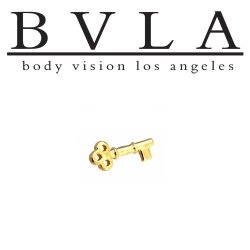 "BVLA 14kt Gold Tiny ""Key"" Threaded End Dermal Top 18g 16g 14g 12g Body Vision Los Angeles"