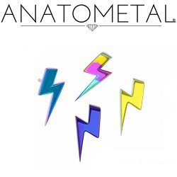 Anatometal Titanium Lightning Bolt Threadless End 18g 16g 14g (25g Pin Universal) Threadless Posts Press-fit
