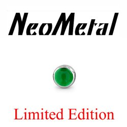 "18 Gauge 18g NeoMetal Limited Edition Threadless Titanium Cabochon Gem 3.0mm ""Press-fit"""