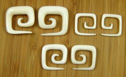 Organic Water Buffalo Bone Square Spirals 12g-0g (Pair) 2mm-8mm