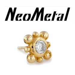 "14 Gauge 14g NeoMetal Threadless Bali 3mm Gem End 14kt 14 Karat Gold ""Press-fit"""