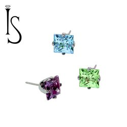 "Industrial Strength Titanium 4 Prong-set 4mm Princess Cut Threadless Gem End 18 Gauge 18g ""Press-fit"""