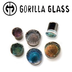 "Gorilla Glass Dichroic Plugs 2 Gauge to 1"" (Pair)"