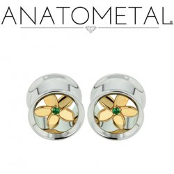 Anatometal Stainless Steel Eyelet Tunnel Bronze Plumeria Flower Insert 00g to 7/8""