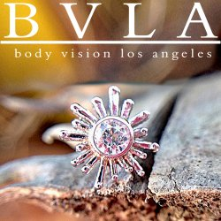 "BVLA 14kt Gold ""Sun Ray"" 4mm Threadless End 1.5mm Gem 18g 16g 14g ""Press-fit"""