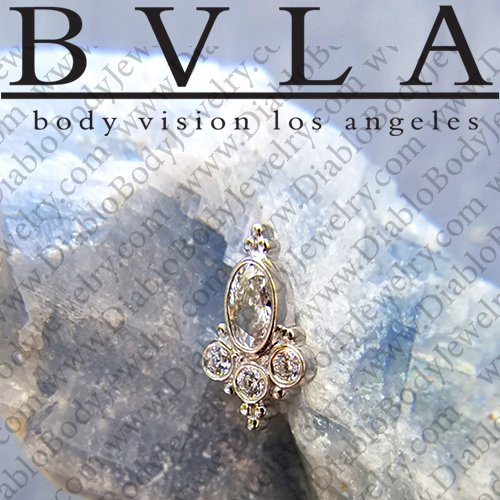 "BVLA 14kt Gold Oval ""Sarai"" Genuine Diamond Threaded End Dermal Top 18g 16g 14g 12g Body Vision Los Angeles - Click Image to Close"