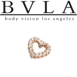"BVLA 14Kt Gold Micro Pave ""Heart"" Outline Threaded End Dermal Top 18g 16g Body Vision Los Angeles"