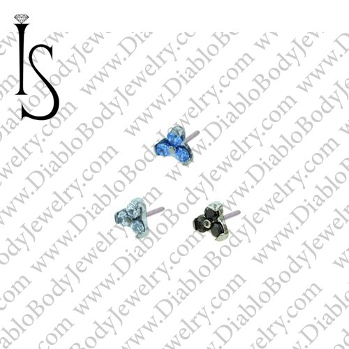 "I. S. Titanium Odyssey ""Menage a Trois"" with 1.0mm Faceted Gems Threadless End 18 Gauge 18g ""Press-fit"" - Click Image to Close"