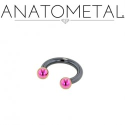 Anatometal Niobium Circular Barbell With Titanium Ball Ends 14 Gauge 14g