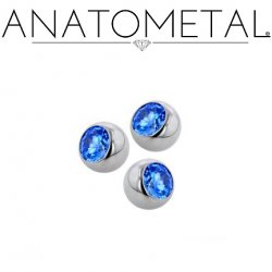 Anatometal Surgical Steel Threaded Gem Ball End 6 gauge 6g