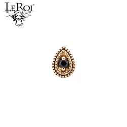 "LeRoi 14Kt Gold Double Millgrain 6mm ""Pear"" Threadless End 18 Gauge 18g ""Press-fit"""