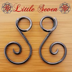 "Little Seven Niobium Small ""Ansari"" Spirals 12 Gauge 12g (Pair)"