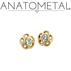 Anatometal 18kt Gold Threaded 3.5mm Tama End 1.5mm VS Genuine Diamond 18g 16g 14g 12g
