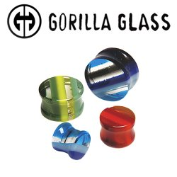 "Gorilla Glass Double Flare Linear Ear Plugs 0 Gauge to 2"" (Pair)"