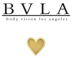 "BVLA 14kt Gold ""Heart"" Card Suit Threaded End Dermal Top 18g 16g 14g 12g Body Vision Los Angeles"