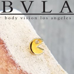 "BVLA 14kt Gold Pac-Man Threadless End 18g 16g 14g ""Press-fit"""